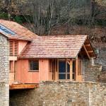 Ossature bois et pignon en pierre, bardage douglas, Ispagnac 03