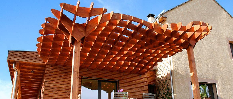 Pergola Antoine Aine lozère ossature bois charpente Agencement