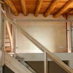 Escalier en chataigner et rambarde en verre feuilleté, St Jean du Bruel