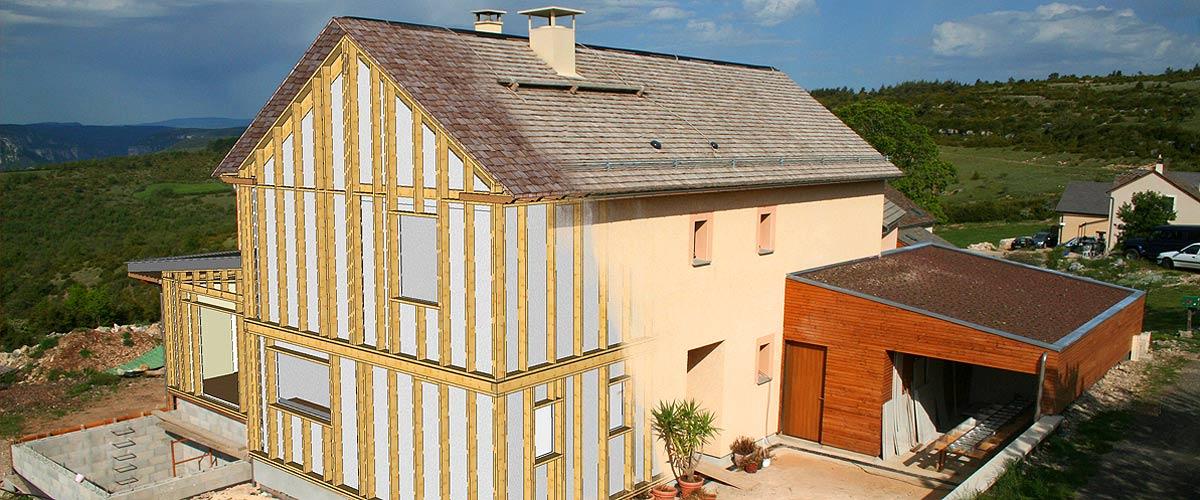 photomontage projet maison ossature bois - simulation 3D et réalisation terminée